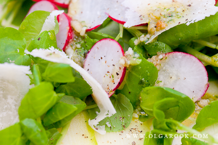 Macro foto van een salade met radijs.