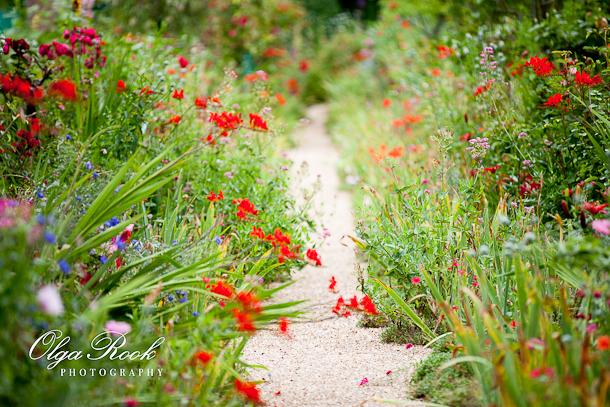 Foto van een pad de bloementuin van Claude Monet in Giverny: mooie bloemen, velle kleuren..