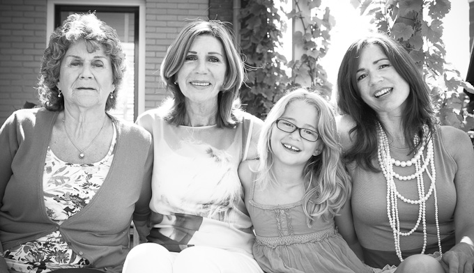 portrait of four generations of women in Rhoon