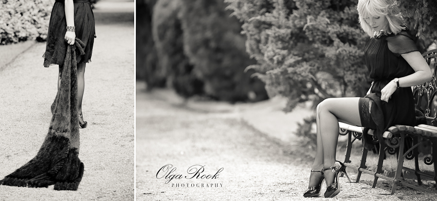 Retro looking images of a beautiful and elegantly dressed young lady in a a park.