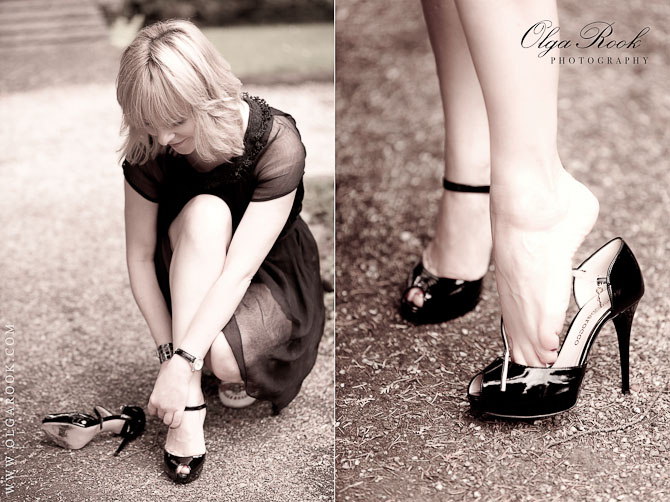 Fashion style photos of a yong elegant woman changing her shoes in a park. She puts on fancy black shoes with high heels.