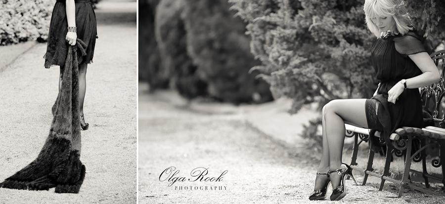 Glamoureuze foto's van een mooie vrouw op een laan in een park. Retro sepia effect en antiek gevoel.