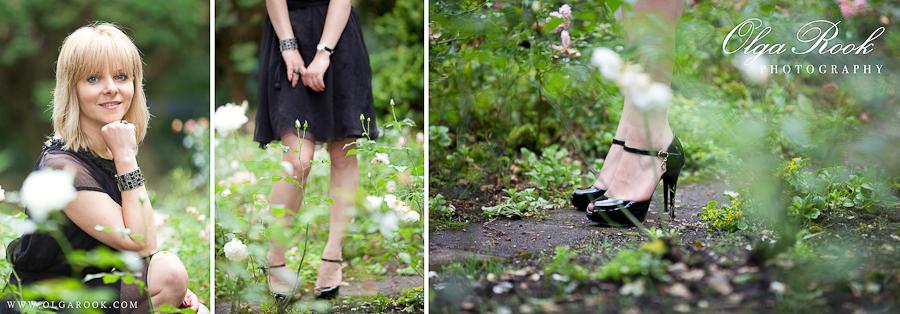 Drieluik met modefoto's van een mooie vrouw die een zwarte avondjurk en schoenen met hoge hakken draagt.
