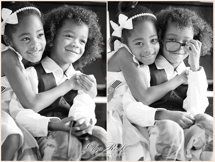 Photos of a little brother and sister together: loving, funny, happy. Elegant clother and classic black and white gives a timeless feeling to the photos.