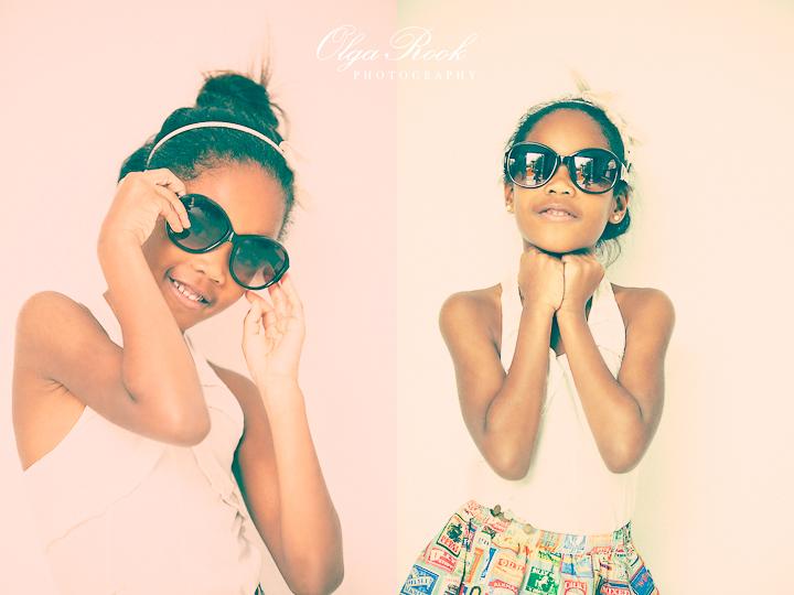 Kinderfotografie met een mode twist: foto's in de stijl van de jaren zeventig. Een klein meisje poseert met een zomerbril en zomerse kleren.