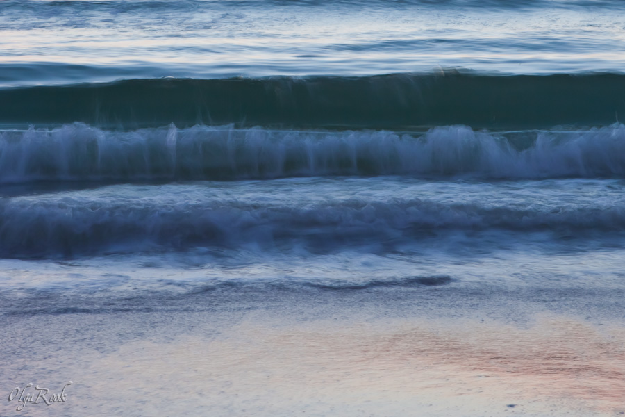 Impressionistic style photograph of sea waves using long exposure.