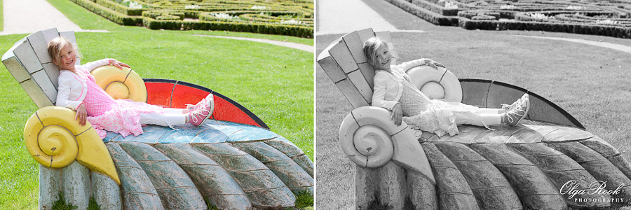 Foto van een meisje spelend in het Euromast park.