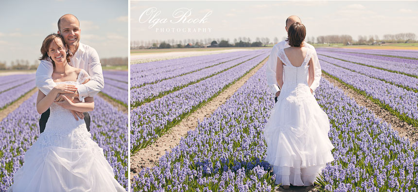 Romantic photo shoot in a hyacinth field.
