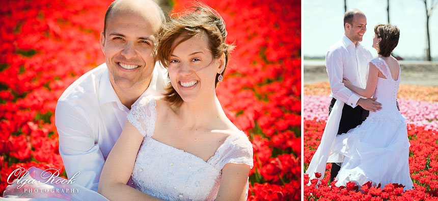 Bride and groom in a flower field among the red tulips.
