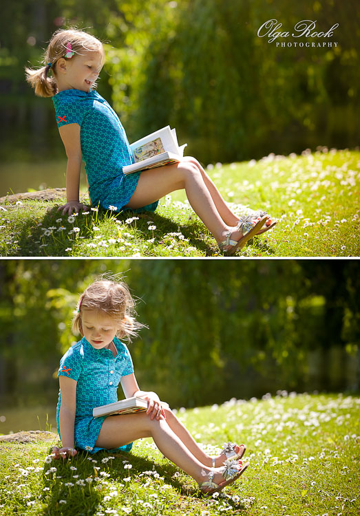 Photographs of a little girl sitting in the grass with a book. The photos convey the atmosphere of pleasure and fun on a sunny day and also a nostalgic feeling.