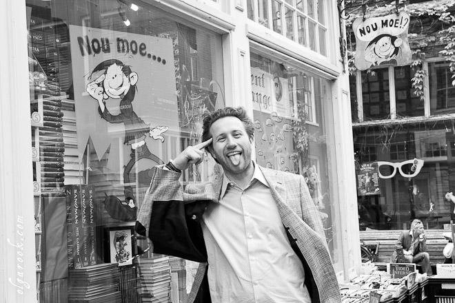 Fun photo at a book store in Amsterdam