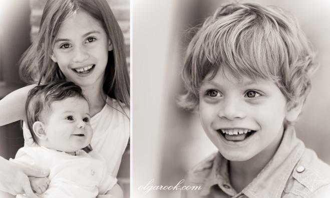 Tweeluik met kinderportretten met antieke effect.