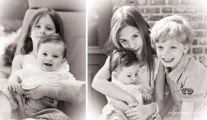 Kinderfoto's in retro stijl.