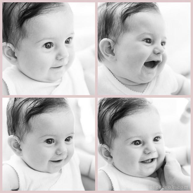 Collage met zwart-witte foto's van een vrolijke baby.