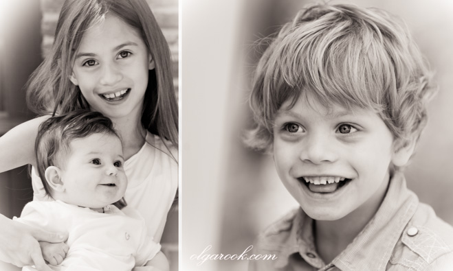 Diptych with children photos with vintage effect..