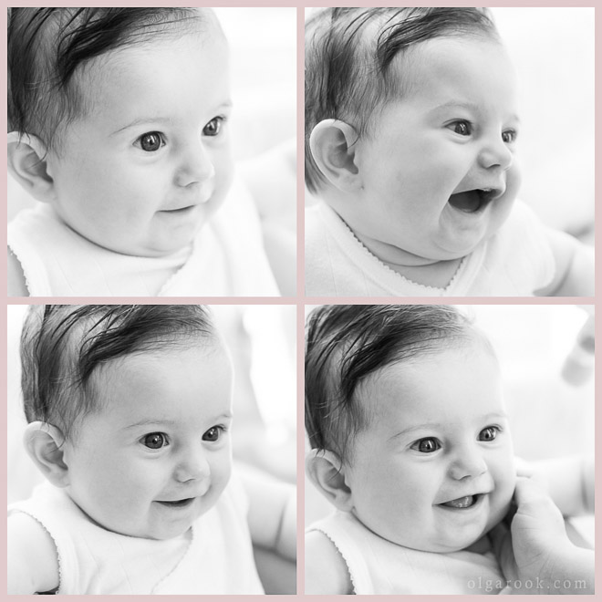 A collage of four black and white images of a laughing baby.