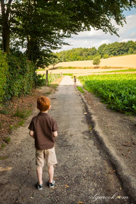 Little red-haired boy is standing in front of a road leading to hills and fields.