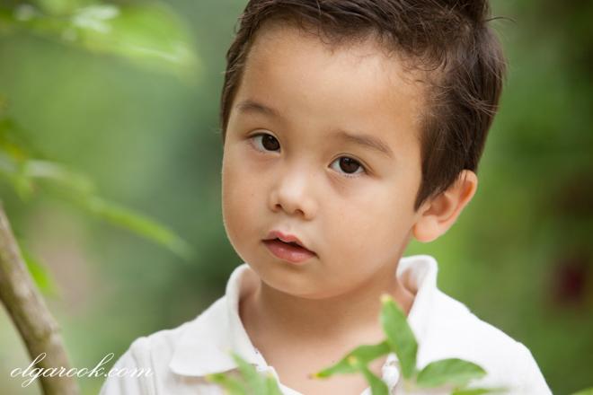 Portret van een klein jongetje tussen de groene bladjes in een park. Zijn uitdrukking is intelligent en kalm.