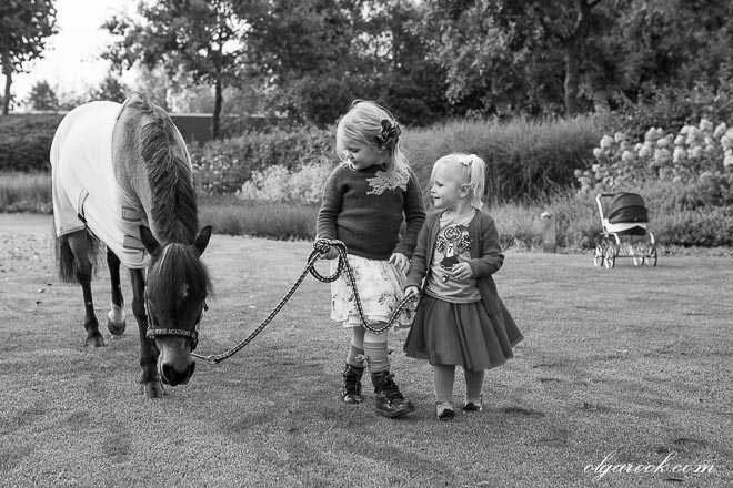 Photo of two little sisters walking in a park with their pony