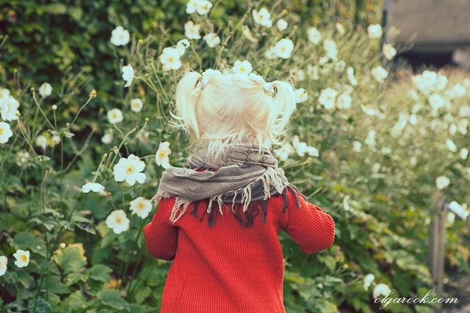 Foto van een klein blond meisje die bloemen in een tuin plukt