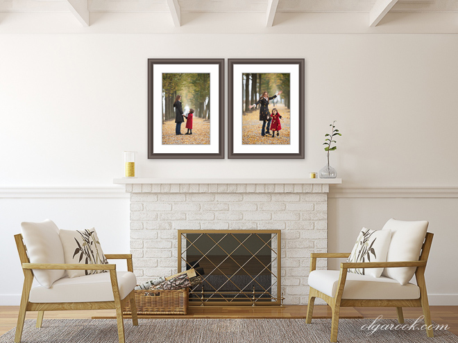 Framed photos on a wall in a simple symmetric combination