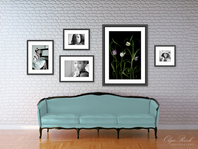 Example of a stylish wall gallery combining fine art and portraits