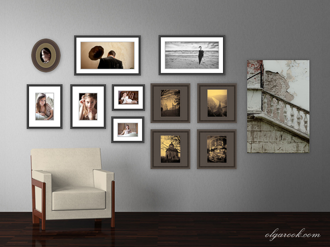 Combination of fine art and photo portraits in wall art.