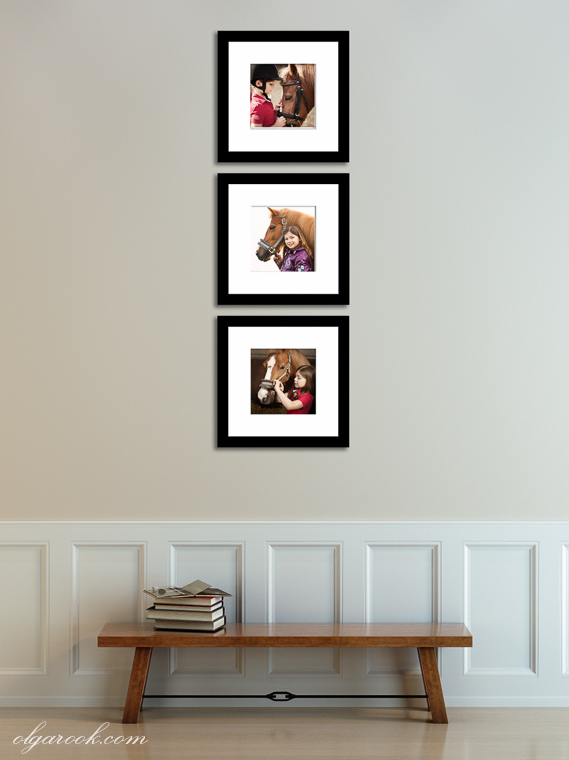Combination of three matted photos on a wall.