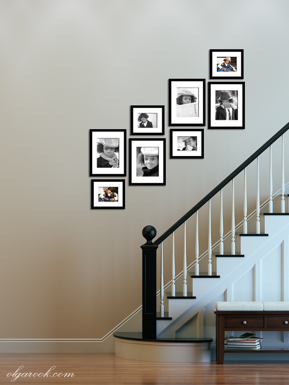 Example of a how to display photos on a staircase.