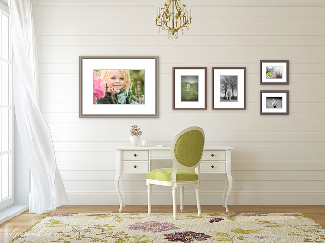 Wall art collection combining different print sizes in color and black and white