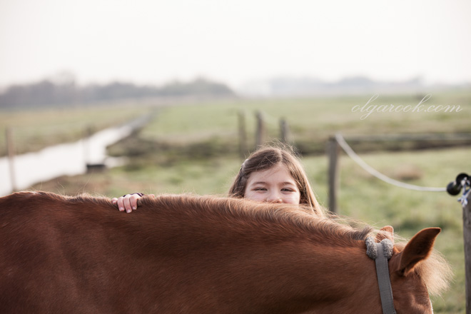 Funny photo of a little girl and a horse in a field.