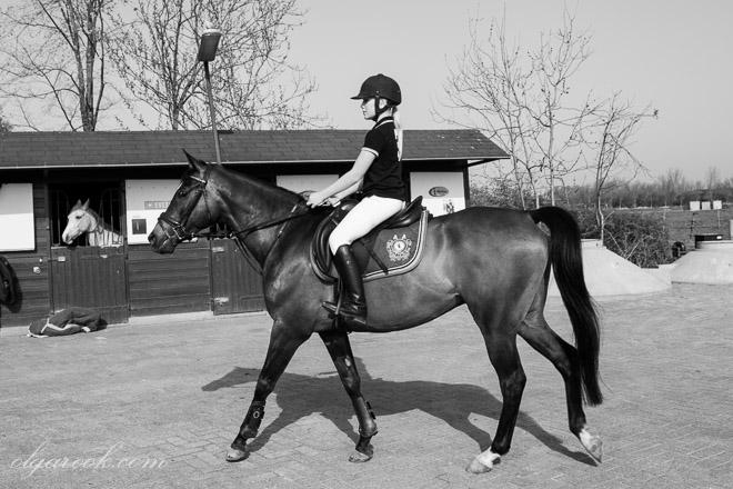 Foto van een jong meisje te paard.