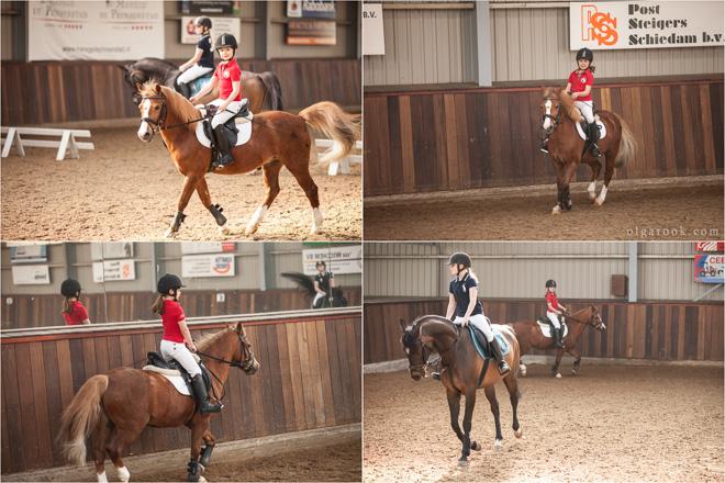 foto's van een klein meisje op een pony op de manege