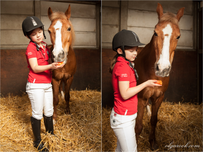 Photos of a little girl offering a carrot to a horse