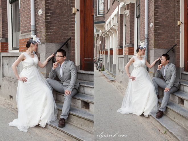 Photos of a romantic Chinese couple in Kralingen, Rotterdam.