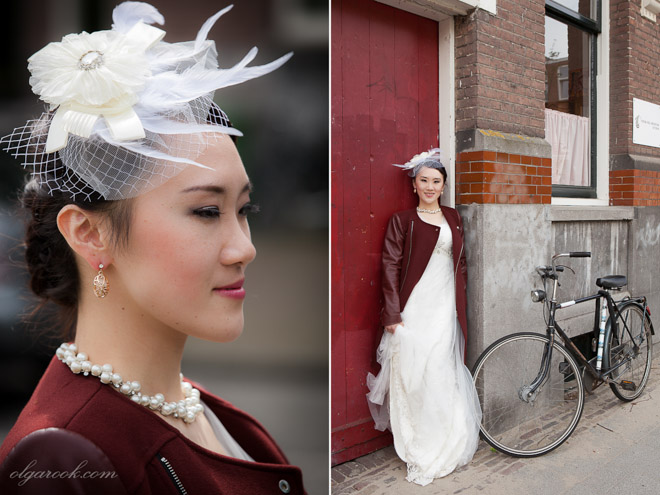 Portraits of a beautiful and elegant Asian lady on a quiet street in Rotterdam.