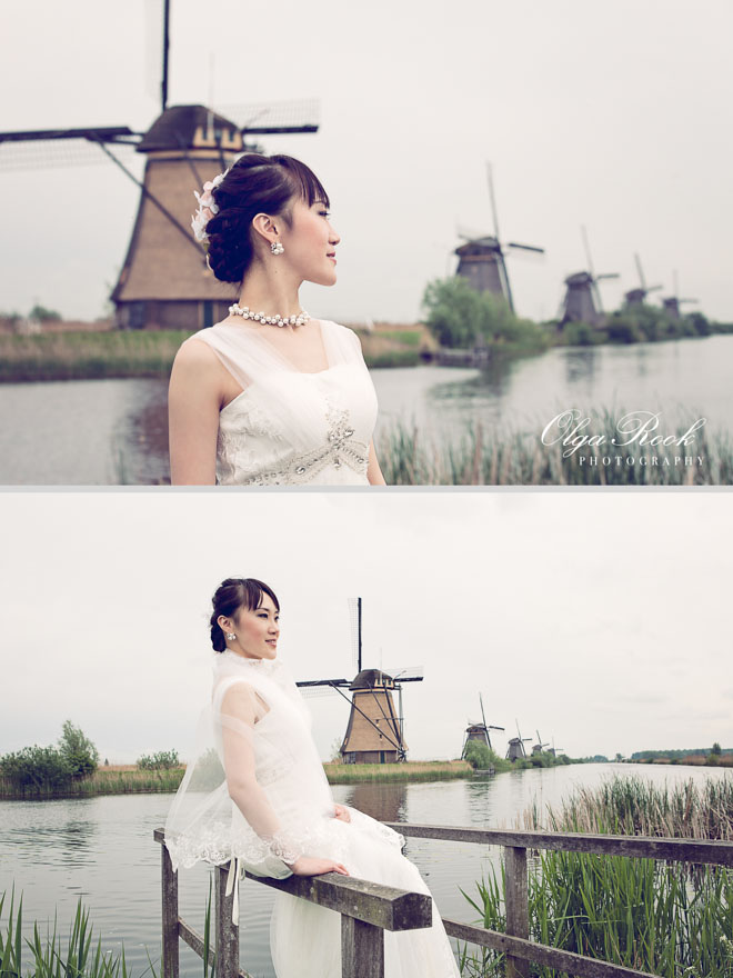 Elegant and fashion-like portraits of a beautiful Asian bride among the Dutch windmills in Kinderdijk.