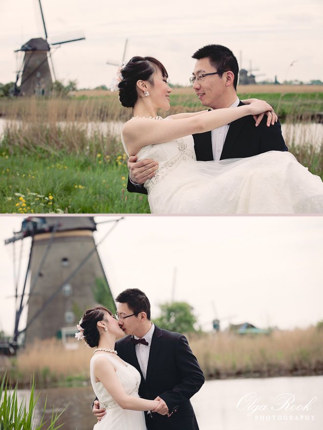Dreamy color portraits of a Chinese romantic couple in Kinderdijk, among the idyllic windmills.