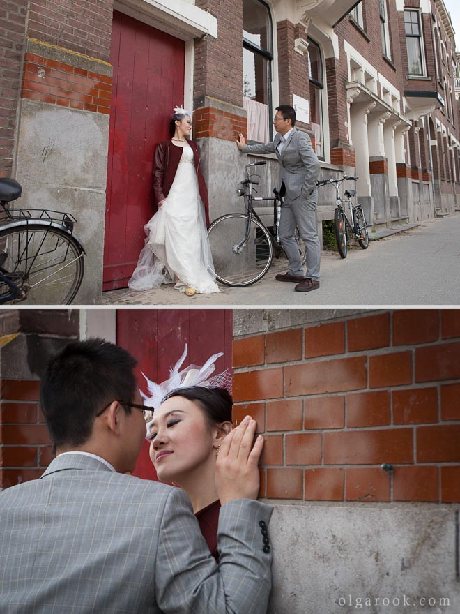 Photos of a romantic couple in an old street in Kralingen, Rotterdam.