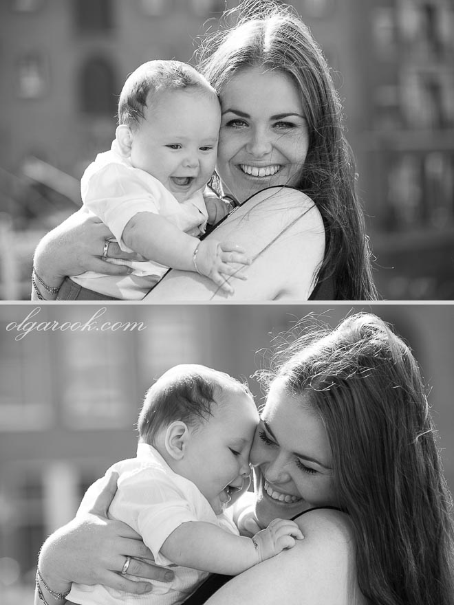 Classic black and white portraits of a beautiful young mother and her little baby son.