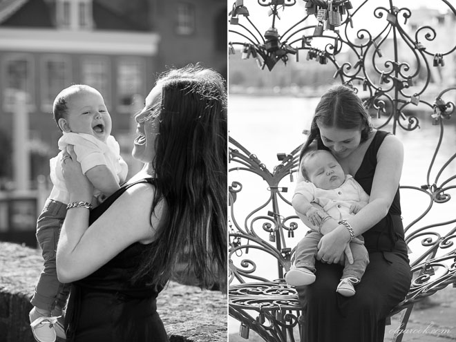Portraits of a mother with her baby son: on the photo left they are laughing, on the image to the right the baby fell asleep.