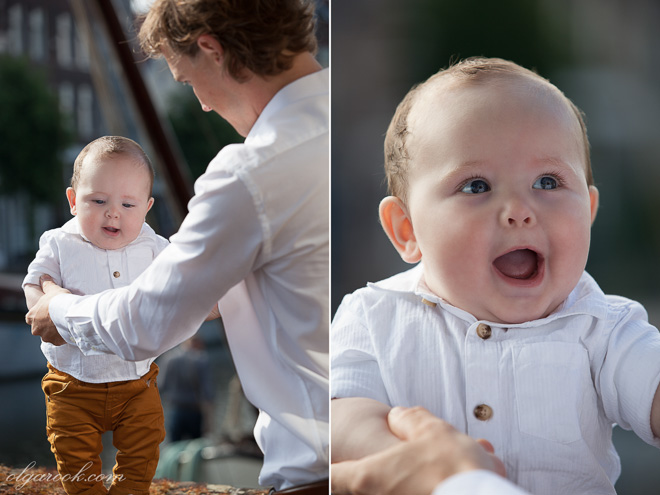 Color photos of a baby boy with his father who teaches him to stand.