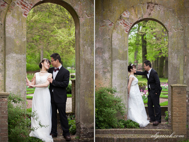 Wedding portraits of a Chinese couple in a castle park