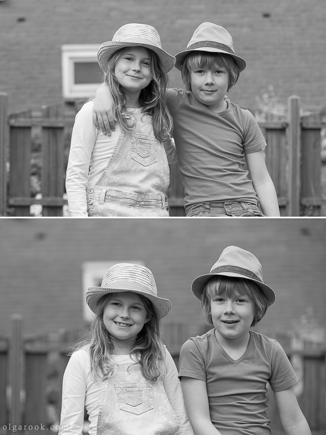 Timeless and vintage-like black and white portraits of a little boy and a girl in a countryside
