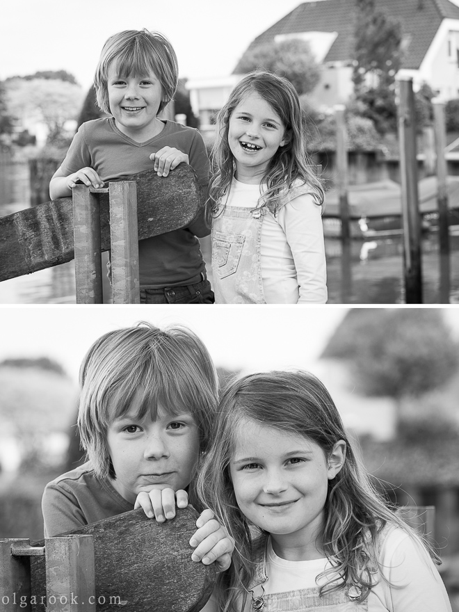 photos of little boy and girl playing and laughing at a small harbour
