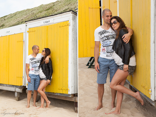 Portraits of a romantic couple at a beach cabin