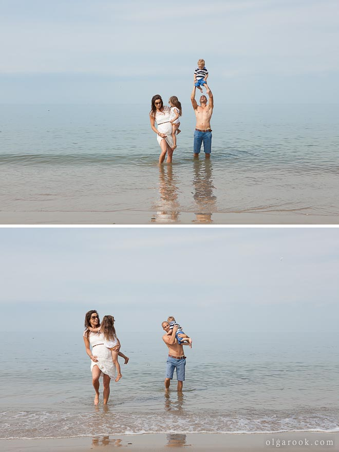 Photos of a family with little children at the sea