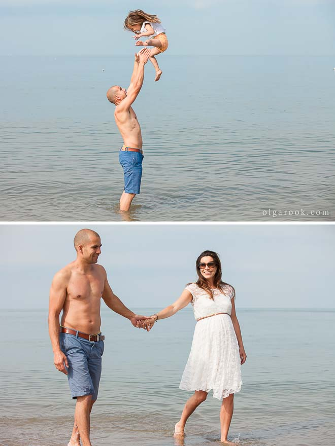 Photo of a couple and of a father with his little daughter at the seaside