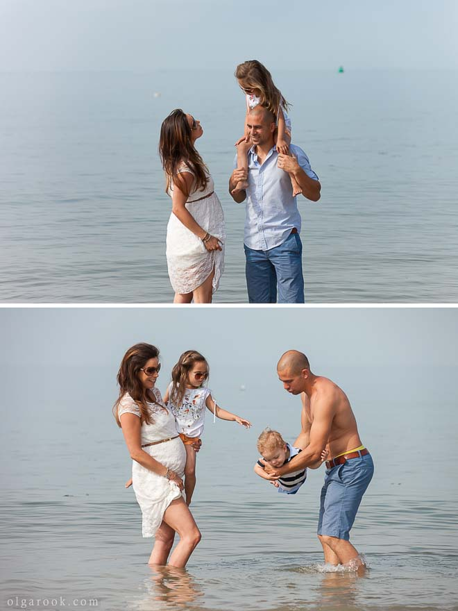 photos of a family with kids at the sea