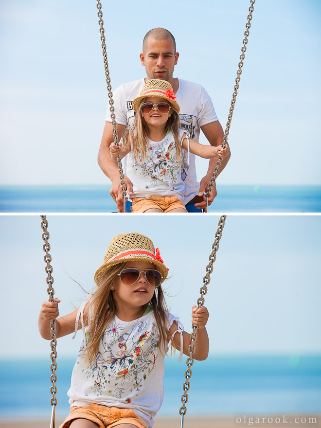 Photos of a little girl and her father on a beach